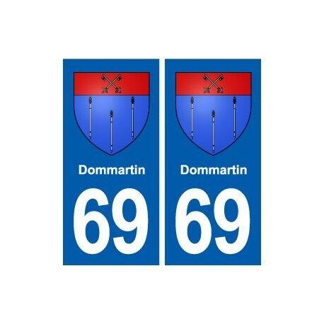 69 Dommartin blason autocollant plaque stickers ville droits