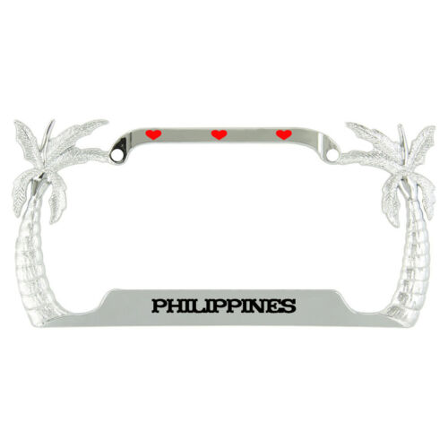 I Love Heart Philippines Palm Tree Metal License Plate Frame Tag Holder