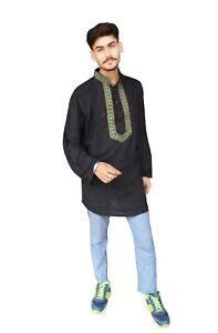 Indian-Embroidered-Men-039-s-Shirt-Ethnic-Wedding-Wear-Cotton-Casual-Kurta-Plus-Size