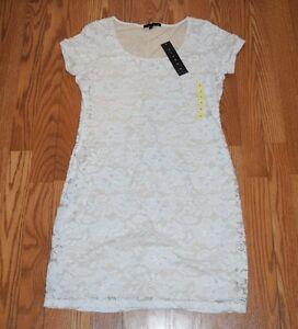 Details About Nwt Womens Tiana B White Nude Lace Dress Sz M Medium 98
