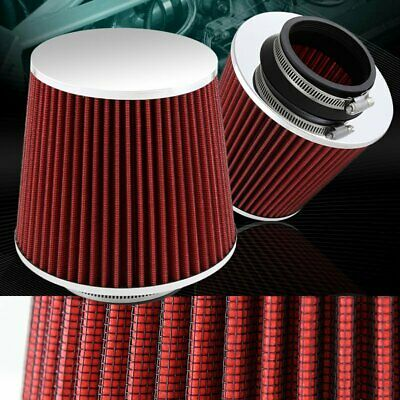76mm 3 Inlet Red Cold Air Intake Short Ram Intake Chrome Open Top Air Filter Universal