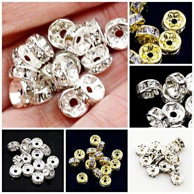 RUBYCA High Quality Czech Crystal Rhinestone Wavy Silver Rondelle Spacer Beads