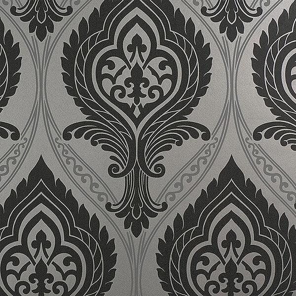 Tapete, Designtapete, Ornamente, schwarz, silber, grau, matt, Luxus, edel
