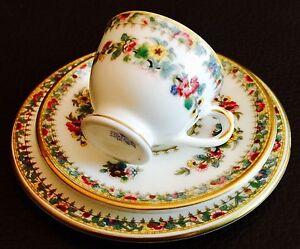 Antique-Coalport-034-Ming-Rose-034-Fine-Bone-China-Miniature-Cup-Saucer-amp-Plate-Trio