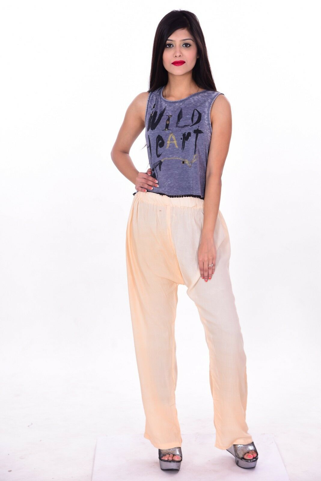 Indian 100% Cotton Women Pant Pajama Trouser Baggy Joggers peach Solid