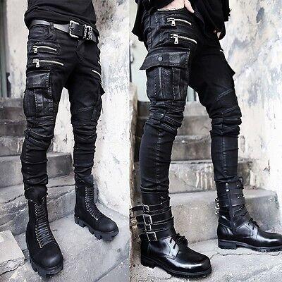 Men/'s Black Skinny Pocket Biker Punk Rock Denim Embossed Trousers Jeans Pants