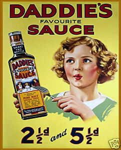VINTAGE-STYLE-RETRO-METAL-PLAQUE-DADDIE-039-S-SAUCE-Sale-039-s-Sign-Ad
