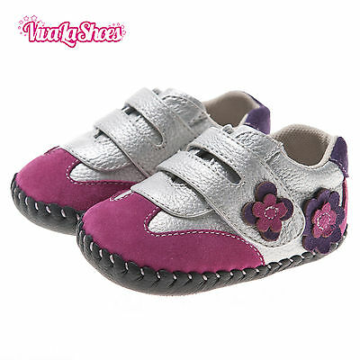 Girls Toddler - REAL Leather Soft Sole Baby Shoes - Pink with Silver Straps