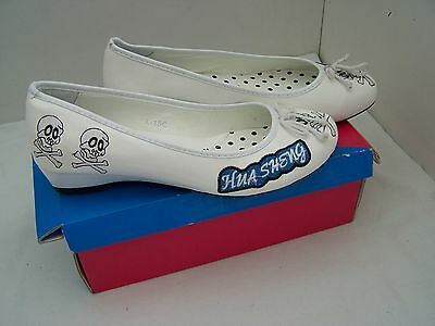 Tamaño 5 Blanco Patente Con Taco Bajo Tribunal Zapatos de Hua Sheng 485