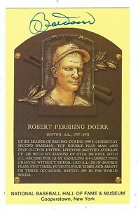 Autographed-BOBBY-DOERR-Hall-of-Fame-Gold-Plaque-Post-Card-With-COA