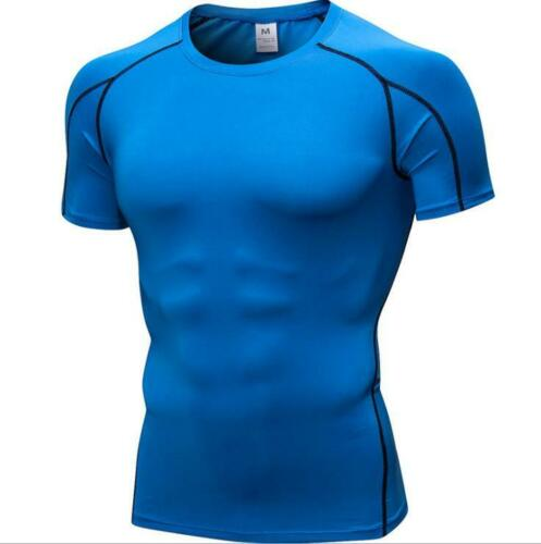 Mens Fitness Compression Base layer Gym Slim Tight Running Cool Dry Shirts Tops