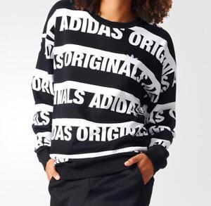 78f163029cb140 Adidas Originals Women's Tops Trefoil Crew Sweater Black Linear Logo ...