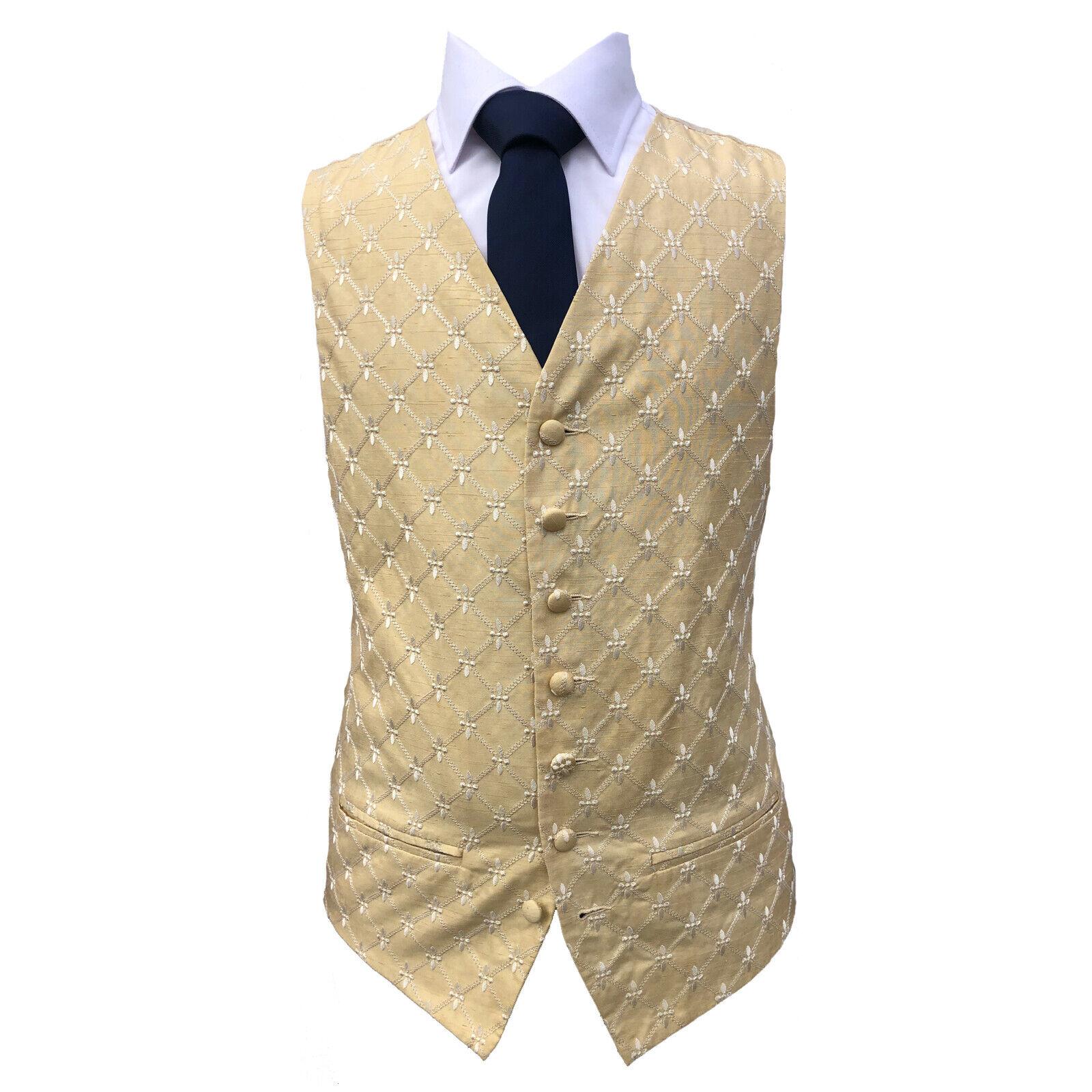 Gold Champagne Diamond Wedding Waistcoat UK Mens And Page Boy Sizes (A23)