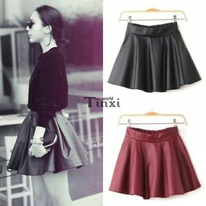 Women-Faux-Leather-Mini-Skirt-High-Waisted-Flared-Pleated-Skater-Short-TXWD
