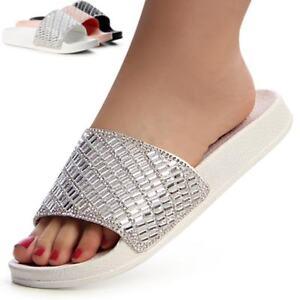 Damen Sandalen Pantoletten Badelatschen Glitzer Sandaletten nN8m0w