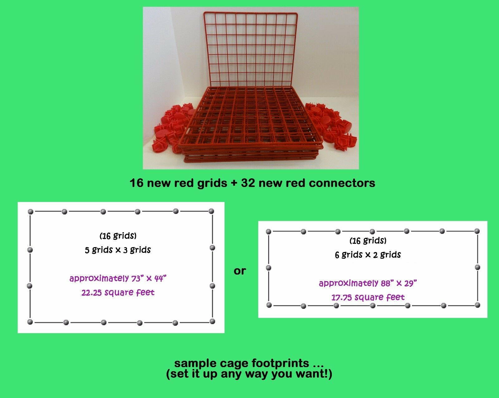 16 rosso grids + 32 connectors for guinea pig C&C (cube & coroplast) cage + care