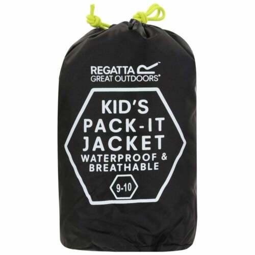 Regatta Enfants Veste Imperméable Pack It LL Veste Imperméable Noir Vente Âge 11 12 13 14