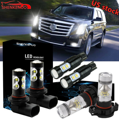 New For 2007-14 Cadillac Escalade Front Fog Driving DRL Lamps LED Bulbs Kit 6Pcs