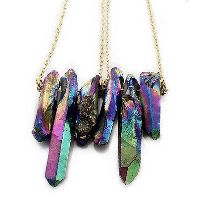 Semi-precious Rough Hexagonal Reiki Healing Plated clear quartz Necklace Pendant