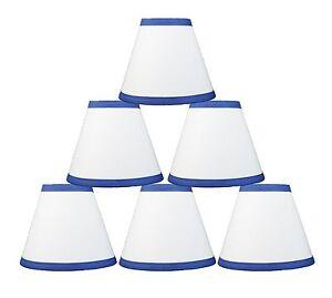 "Urbanest White Cotton w/ Blue Trim Chandelier Mini Lamp Shade,3""x6""x5"" Set of 6"