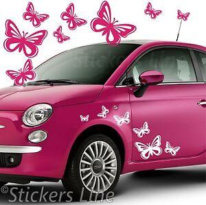 Kit-adesivi-FARFALLE-mod5-40-pezzi-SMART-FIAT-500-fiori-auto-moto-car-stickers