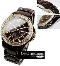 FOSSIL WOMEN'S CHRONOGRAPH BROWN CERAMIC EDITION WATCH CE1044