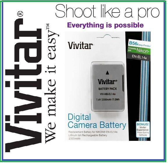 2300 Mah Vivitar Enel14a Batterie Pour Nikon D5100 D5200 D3200 D3100 D5300 D3300 Plus De Rabais Sur Les Surprises