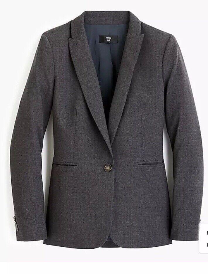 New J Crew Parke Blazer in Italian Stretch Wool Heather Coal Sz 2 J5383