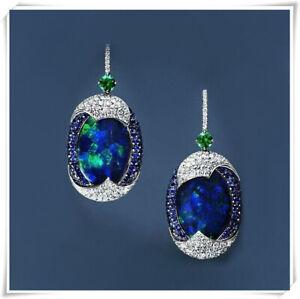 925-Silver-Arrival-Real-Blue-Opal-Sapphire-Woman-Ear-Hook-Hoop-Earrings-Wedding