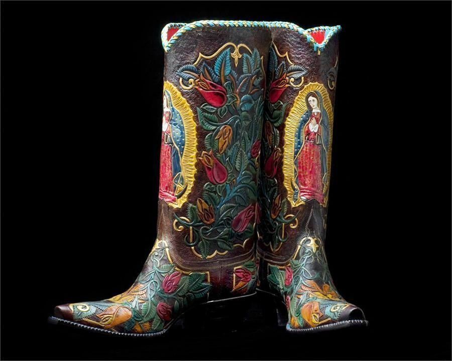 Hand tooled made to order cowboy Stiefel Guadalupe virgin style