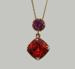 Argos-9ct-Gold-Plated-Silver-Pink-Sapphire-amp-Cubic-Zirconia-Pendants-Necklace
