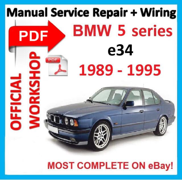 official workshop manual service repair for bmw series 5 e34 1989 rh ebay co uk 1995 BMW 540I Interior 1995 BMW M5