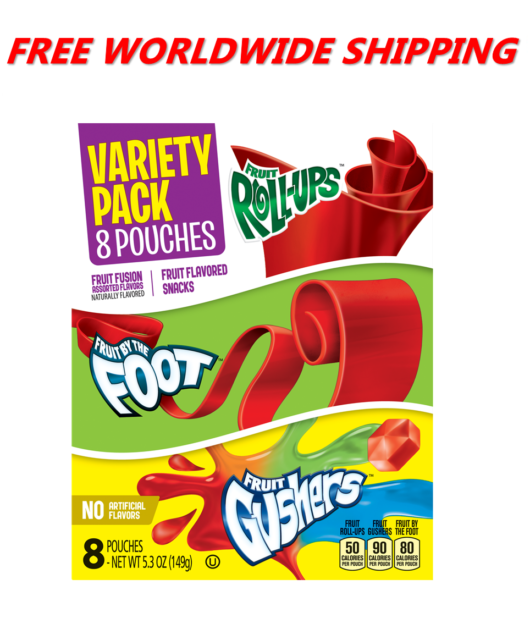 Betty Crocker Variety Pack Fruit Roll-Ups By The Foot & Gushers  WORLD SHIP