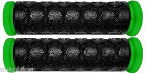 KICK-SCOOTER-GREEN-SKULL-GEL-GRIPS-FITS-RAZOR-OTHER-BARS-WITH-7-8-034-HANDLEBARS