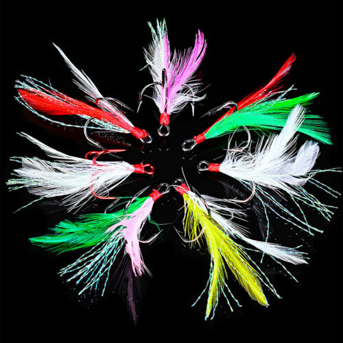 20pcs Fishing Hooks Treble With Feather For Minnow Fishing Lures Crankbaits sz10
