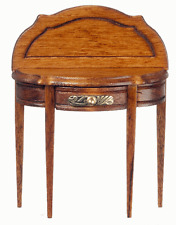 Half Round Walnut Table, Doll House Miniatures Furniture Study Lobby. 1:12th