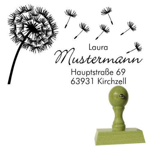 Pusteblume Adressstempel Holzstempel 50 x 30 mm Stempel Motiv
