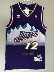 best service 0a6c2 4ec15 Details about NWT John Stockton #12 NBA Utah Jazz Swingman Throwback Jersey  Purple Man