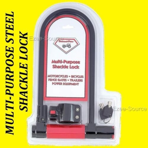 HEAVY-DUTY SHACKLE STEEL LOCK FOR MOTORCYCLE SCOOTER CYCLE FENCE GATES TRAILERS