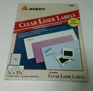 avery 5667 clear laser labels 1 2 x 1 3 4 2000 count new ebay