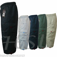 MENS PLAIN ELASTICATED SHORTS POLY COTTON CARGO COMBAT CASUAL 3/4 PANTS