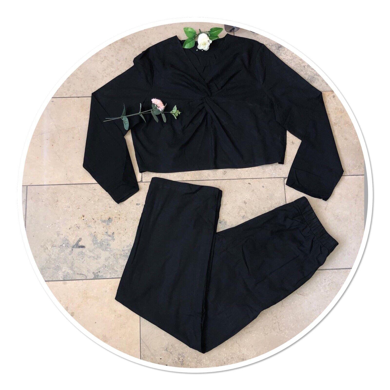 Damen Italy Fashion Set, Shirt mit knoten vorne + Hose, Gr. XL, Schwarz Neu