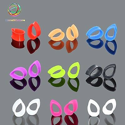 Pair Tear Drop Silicone Tunnels Plugs Ear Stretching Gauge Multicolor NEW NANA90