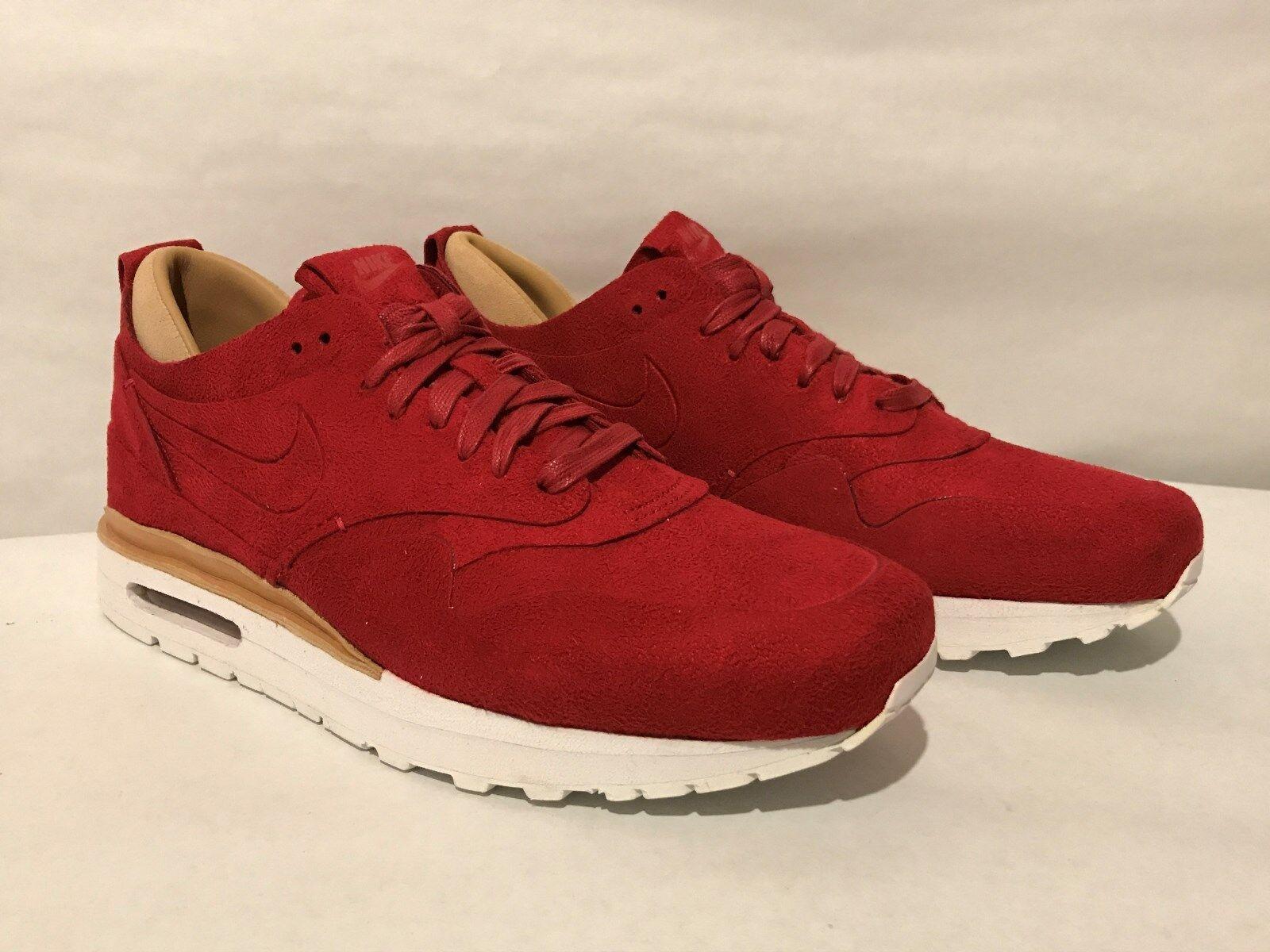 Men's Nike Air Max 1 Royal Running shoes Gym Red New No Box Top 847671-661