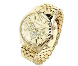 NEW Michael Kors MK8281 Lexington Chronograph Gold Tone Men's Wrist Watch
