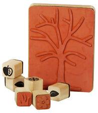 Holzstempel Jahreszeitenbaum Stempel Set 7-teilig, Motivstempel, Stempel Baum