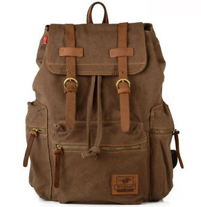 32ea23b596 Image is loading Fashion-Leather-military-canvas-Men-Backpack-Hiking-School-