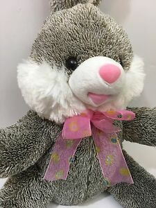 Dan-Dee-Plush-Rabbit-Bunny-14-034-Gray-White-Collector-039-s-Choice-Stuffed-Animal-2013