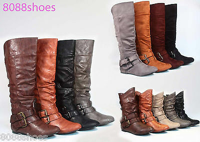Women's Cute & Stylish Round Toe Flat Heel Buckle Slouchy Mid-Calf Boot Shoes