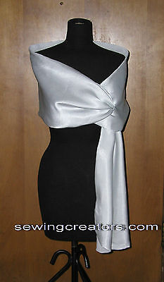 Black White Satin Pull Thru Shawl Formal Cape Prom